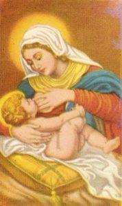 Menino Jesus mamando em Maria